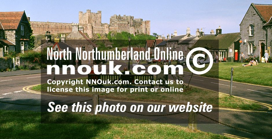 Bamburgh castle and village