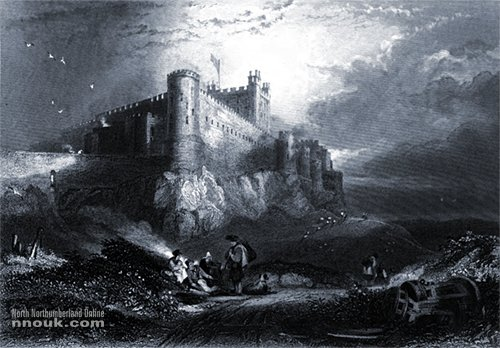 A drawing of Bamburgh castle around 1850