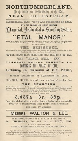 A page from the catalogue for the sale of Etal Manor and surroundings in 1887