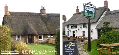 A thatched cottage and the Black Bull pub, in Etal, Northumberland